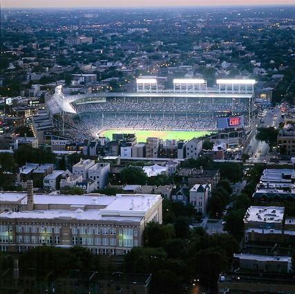 A 2004 aerial view of Wrigley at night.