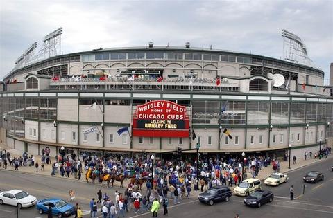 A view of Wrigley at the corner of Clark and Addison streets.