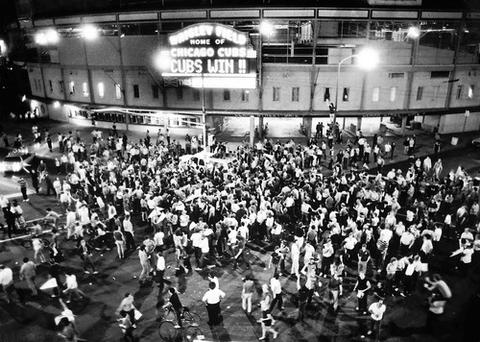 Fans swarmed the corner of Clark and Addison streets on Sept. 24, 1984 after the Cubs won the National League's East Division crown, the team's first championship in 39 years.The actual game was played in Pittsburgh but fans gathered at Wrigley to celebrate.