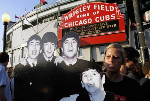 Outside Wrigley Field before the concert by Paul Mc Cartney. on July 31, 2011.