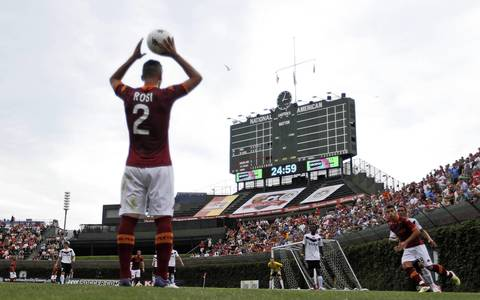 AS Roma's Aleandro Rosi gets ready for a throw in while playing Zaglebie Lubin during a soccer friendly at Wrigley Field.