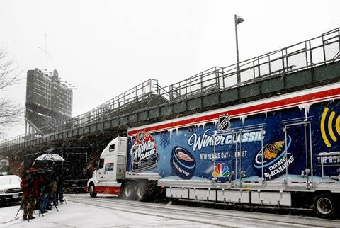 An NHL ice making trailer arrived along Waveland Ave. at Wrigley Field Tuesday, in preparation for the January 1st outdoor hockey match between the Blackhawks and Red Wings.