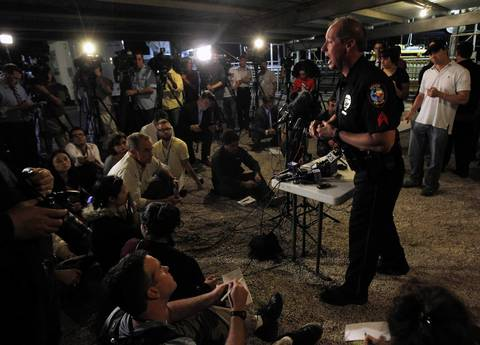 Waco Police spokesperson William Swanton speaks at a media conference regarding an explosion at a fertilizer plant in the town of West, near Waco, Texas. The deadly explosion ripped through the fertilizer plant late on Wednesday, injuring more than 100 people, leveling dozens of homes and damaging other buildings including a school and nursing home, authorities said.
