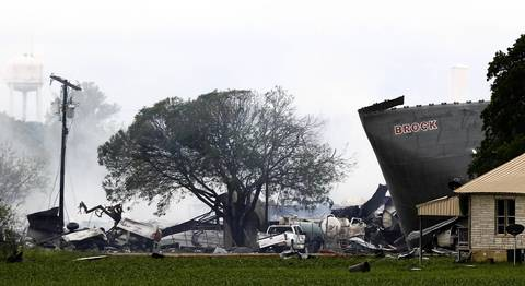 The remains of a fertilizer plant smolders after a massive explosion in the town of West, near Waco, Texas. The deadly explosion ripped through the fertilizer plant late on Wednesday, injuring more than 100 people, leveling dozens of homes and damaging other buildings including a school and nursing home, authorities said.