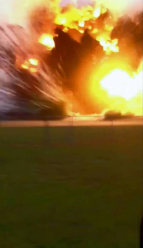 A frame grab from an amateur video shows an explosion taking place at the West Fertilizer Co. plant in West, Texas.