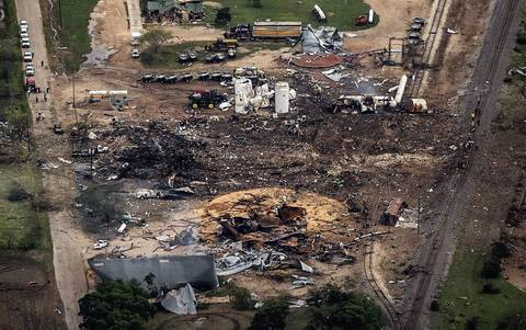 An aerial view shows the aftermath of a massive explosion at a fertilizer plant in the town of West, Texas.