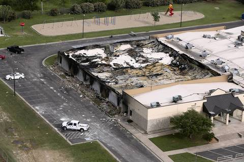An explosion yesterday at the West Fertilizer Company destroyed the West Intermediate School, shown from the air, in West, Texas.