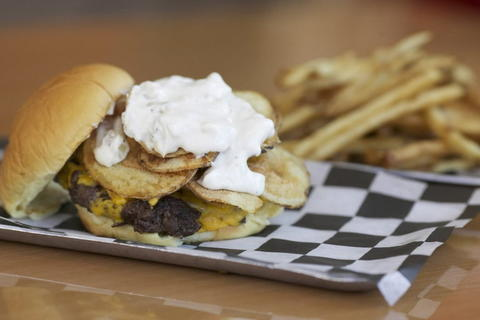 ... potato chips, and French onion dip on a potato bun at Burger Point