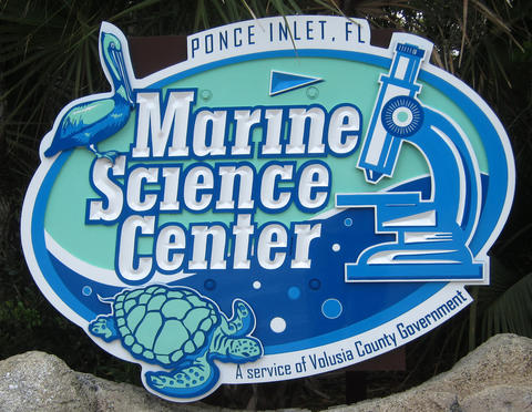 The entrance sign at the Marine Science Center, in Ponce Inlet, Fla., Friday, April 19, 2013. (Joe Burbank/Orlando Sentinel) cci ID Newsgate# .B582862214Z.1
