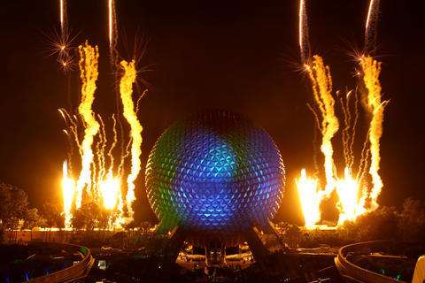 Fireworks welcome Monsters, Inc. character Mike Wazowski, projected on Spaceship Earth --the 18-story tall geodesic sphere at Epcot, at Walt Disney World--   during a ceremony at the park, Thursday night, April 25, 2013.  The ceremony was to announce that the Magic Kingdom and two Disney parks in California will be open for 24 hours on Memorial Day weekend, 2013.   (Joe Burbank/Orlando Sentinel)   CCI ID Newsgate#   .B582873894Z.1