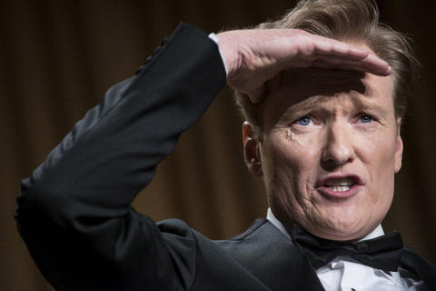 Comedian Conan O'Brien performs during the White House Correspondents' Association Dinner April 27, 2013 in Washington, DC. Obama attended the yearly dinner which is attended by journalists, celebrities and politicians. AFP PHOTO/Brendan SMIALOWSKI (Photo credit should read BRENDAN SMIALOWSKI/AFP/Getty Images)