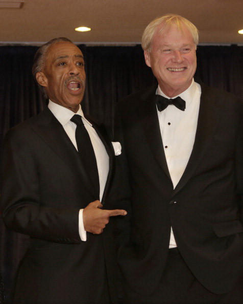 Reverend Al Sharpton and television talk show host Chris Matthews arrive at the annual White House Correspondents' Association dinner in Washington DC, April 27, 2013. AFP Photo/ Chris KLEPONIS (Photo credit should read CHRIS KLEPONIS/AFP/Getty Images)