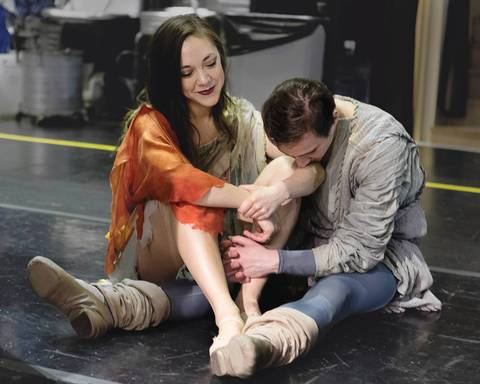 Katherine Minor and Fabio Lo Giudice share an intimate moment during rehearsal.