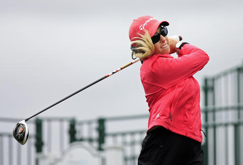 Natalie Gulbis tees off at the first hole at the Kingsmill LPGA Pro-Am on Wednesday.