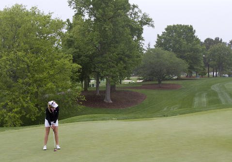 Paula Creamer hits from the green during the Kingsmill Championship Pro-Am on Wednesday.