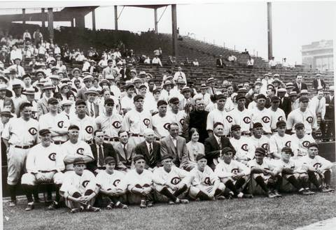 Chicago Cubs president William Veeck, second row, center, in suit and bow tie, takes a team photo with the Cubs at Wrigley Field in an undated photo taken in the late 1920s.