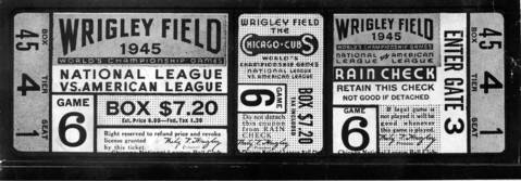 A ticket for Game 6 of the 1945 World Series at Wrigley Field between the Cubs and Detroit. With tax, a box seat was $7.20.