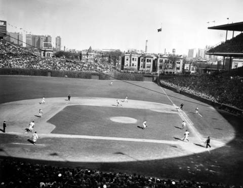 Wrigley Field during the 1945 World Series. It was the fifth time Wrigley hosted a series.