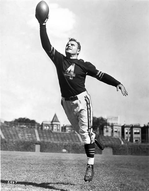 Chicago Bears player Frank Maznicki during practice at Wrigley Field in Chicago Nov. 21, 1946.