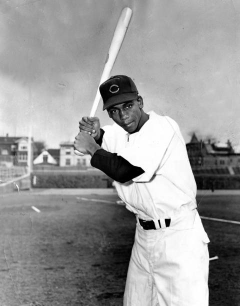 Chicago Cubs shortstop Ernie Banks at Wrigley Field on September 14, 1953.