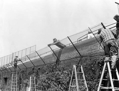 Workmen install a fence on top of the outfield walls at Wrigley Field in May 1970. The fence barrier was put up to prevent fans from climbing the walls and throwing things on the field.