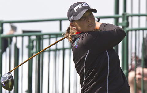LPGA tournament at Kingsmill in James City Co. the 2nd. round Friday. Angela Stanford on the 1st tee..