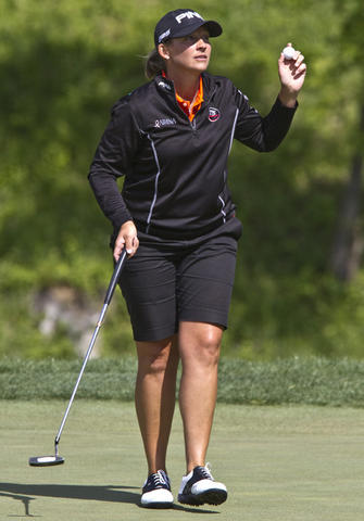 LPGA tournament at Kingsmill in James City Co. the 2nd. round Friday. Angela Stanford on the 18th. green.