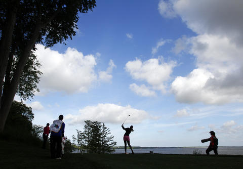 Sandra Gal tees off at the 17th hole during the third round of the LPGA Kingsmill Championship on Saturday, May 4.