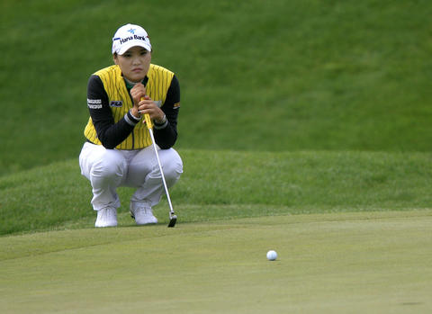 So Yeon Ryu lines up a putt on the 11th green during the third round of the LPGA Kingsmill Championship on Saturday, May 4.