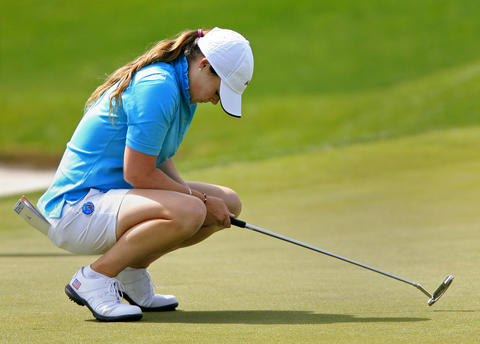Katie Burnett reacts to a putt on the 11th green during the third round of the LPGA Kingsmill Championship on Saturday, May 4.