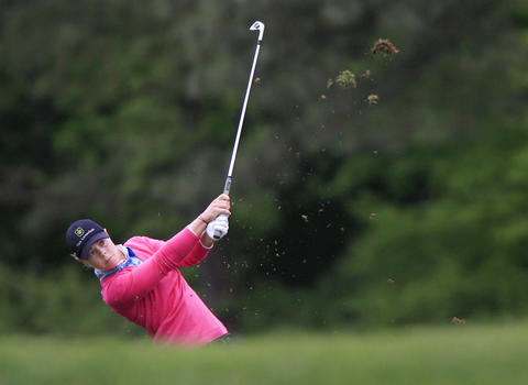 Christel Boeljon takes a swing on the fairway of the sixth hole during the third round of the LPGA Kingsmill Championship on Saturday, May 4.