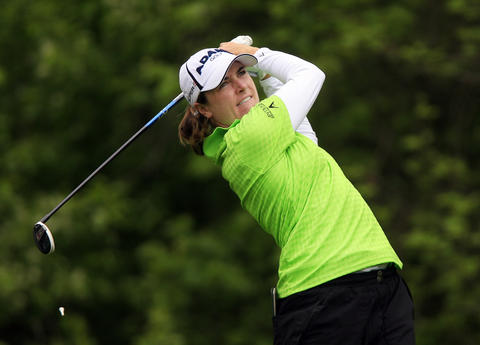 Alison Walshe tees off at the sixth hole during the third round of the LPGA Kingsmill Championship on Saturday, May 4.