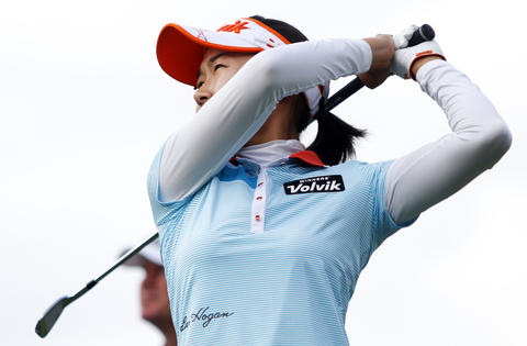 Ilhee Lee tees off at the 13th hole during the third round of the LPGA Kingsmill Championship on Saturday, May 4.