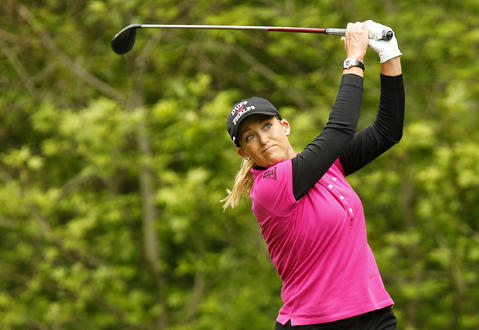Cristie Kerr drives the ball off the tee of the sixth hole during Saturday's third round of the LPGA Kingsmill Championship.