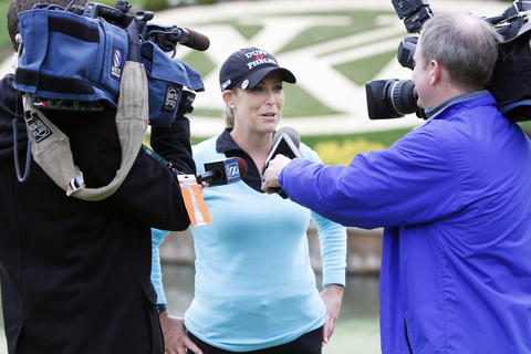 Cristie Kerr answers television interview questions after winning the LPGA Kingsmill Championship on Sunday, May 5.