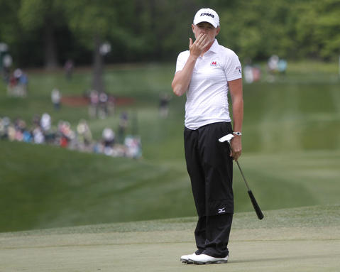 Stacy Lewis reacts to a missed putt attempt on the front 9 during the final round of the LPGA Kingsmill Championship on Sunday, May 5.