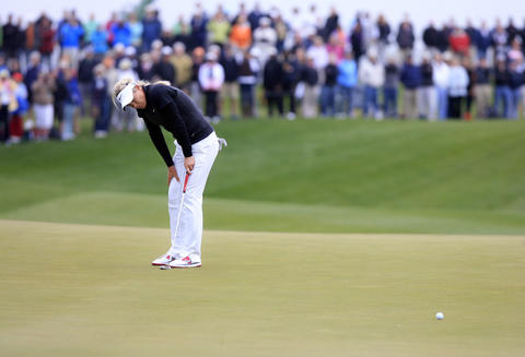 Suzann Pettersen reacts after missing a putt attempt during the 18th hole playoff at the final round of the LPGA Kingsmill Championship on Sunday, May 5.