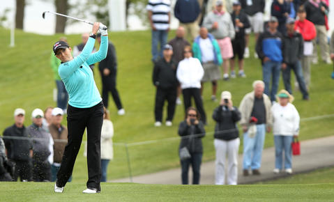 Cristie Kerr takes her second shot on the 18th hole duirng the final round of the Kingsmill Championship Sunday in Williamsburg.