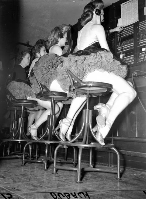Showgirls Eileen McDermott, from right, Betty Lee Foote and Virginia Tiff at the Edgewater Beach Hotel, Feb. 2, 1944.