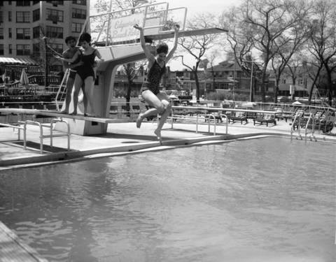 Entertainers Jimmy Dybas, from left, Eleni Sarafi, and Davine Miraballi at the opening of the Edgewater Beach Hotel swimming pool, May 1, 1963.