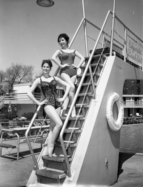 Entertainers Davine Miraballi, left, and Eleni Sarafi at the opening of the Edgewater Beach Hotel swimming pool on May 1, 1963.