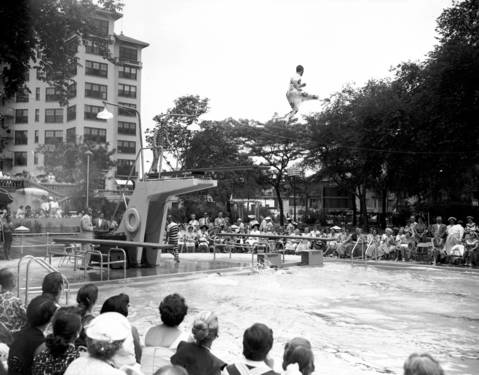 Premiere opening of the outdoor swimming pool at the Edgewater Beach Hotel on June 27, 1953.