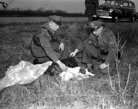 Police officers John A. Peters, left, and Edward Marcoline, right, examine the body of Roberta Rinearson at the crime scene on Dec. 18, 1948. Rinearsons badly beaten body was found in a ditch along County Line Road, just northeast of Elmhurst, Ill.