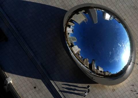 Cloud Gate sculpture, aka the Bean, in Millennium Park.