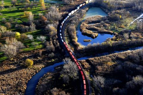 A train line snakes through terrain south of Chicago.