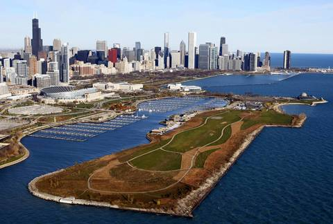 Northerly Island and the skyline.
