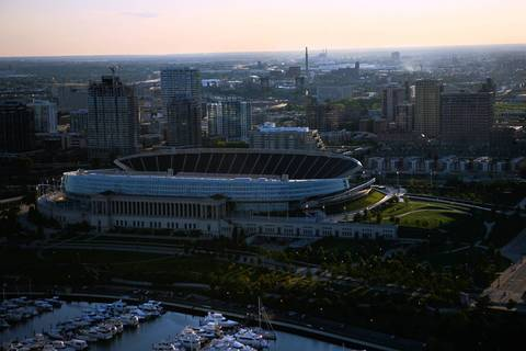 Soldier Field with Burnham Harbor in the foreground.