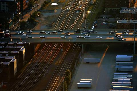 Traffic on the Dan Ryan passes over train tracks at 16th Street.