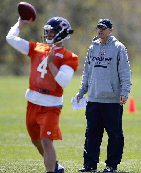Bears coach Marc Trestman watches quarterback Matt Blanchard during drills.