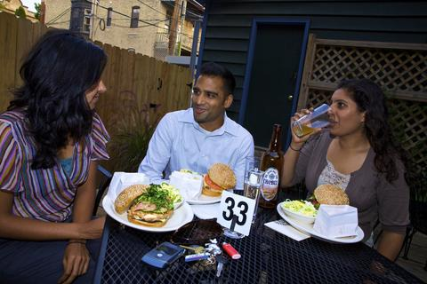 Wicker Park cafe and sandwich shop Birchwood Kitchen features a backyard patio.